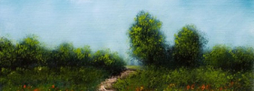 A Path through the flower fields – Oil Painting