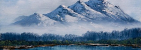 Frosty Mountains – Oil Painting