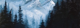 Distant Mountains – Oil Painting