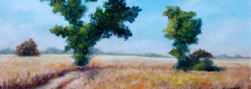 Trees in a Wheat Fields – Oil Painting