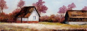 Old Farm Houses – Oil Painting