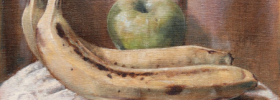 Apple and Bananas – Oil Painting