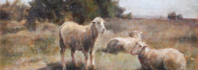 Just the three of us – Sheep in Landscape Oil painting