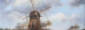 Windmill – Landscape Oil painting