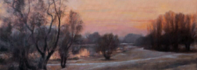 Sunset at the River Pond – Landscape Oil Painting