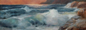 Seascape at Sunset – Seaside Oil Painting