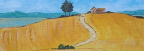 Farm House on the Hill – Oil Painting