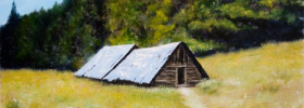 Mountain Cottages – Oil Painting