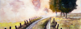 Misty Country Road – Oil Painting