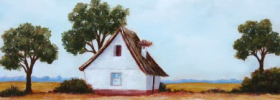 Farm House with a Nest – Oil Painting