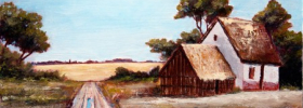 Old Farm Houses by a Road – Oil Painting
