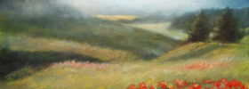 Misty Mountains with Poppies – Oil Painting