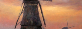Windmills in Sunset – Oil Painting