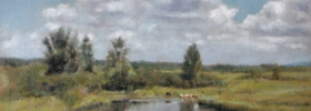 Cattle by the pond – Landscape Oil painting