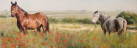 Horses in a Poppy field – Landscape Animals Oil painting