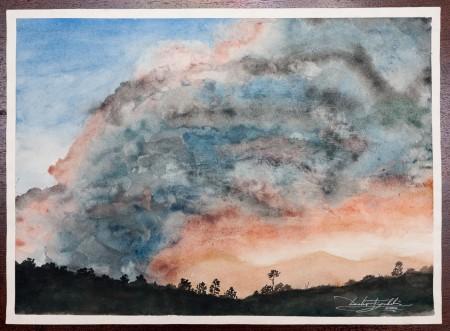 Fine Art - Where's the Fire Burnin' - Original Watercolour Painting on paper by artist Darko Topalski