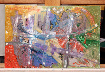 Galactica - Oil Painting fine Art on HDF by artist Darko Topalski