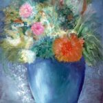 Flowers in a Blue Vase – Oil Painting