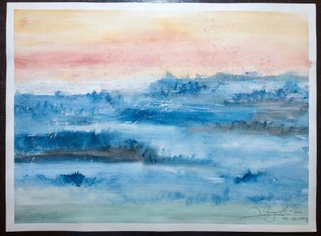 Fine Art - Blue Valley - WOW-14 - Original Watercolour Painting on paper by artist Darko Topalski