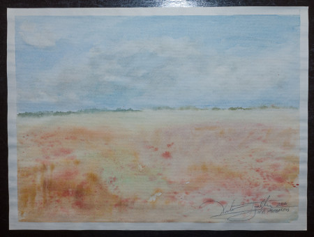 Fine Art -Misty Plain - WOW 12 - Original Watercolour Painting on paper by artist Darko Topalski