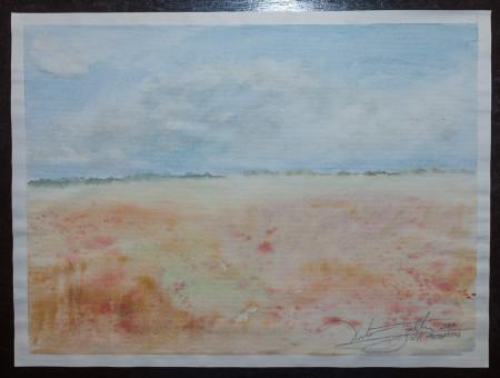 Fine Art -Misty Plain - WOW 12 - Original Watercolour Painting on paper by artist Darko Topalski