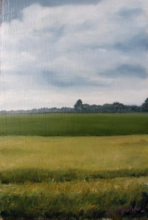 Behind Fields - Oil Painting on HDF by artist Darko Topalski