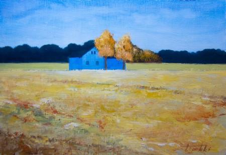 Blue Farm - Oil Painting on HDF by artist Darko Topalski