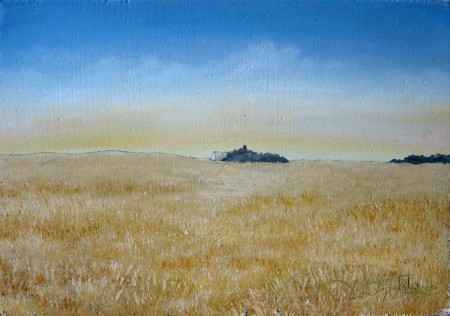 Distant Farm House - Oil Painting on HDF by artist Darko Topalski