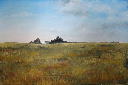 Farm House in a plain - Oil Painting on HDF by artist Darko Topalski