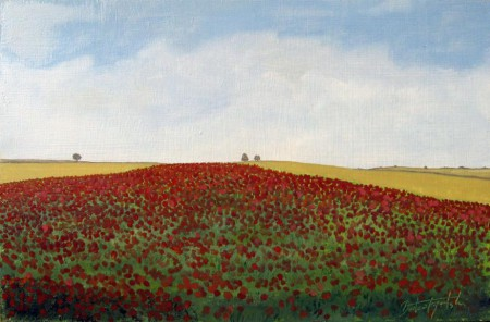 Field of Poppies - Oil Painting on HDF by artist Darko Topalski