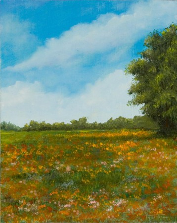 Floral Field - Oil Painting on HDF by artist Darko Topalski