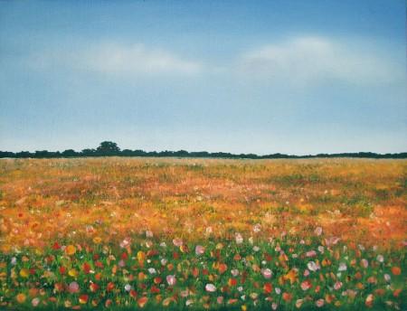 Flower Field - Oil Painting on Canvas by artist Darko Topalski