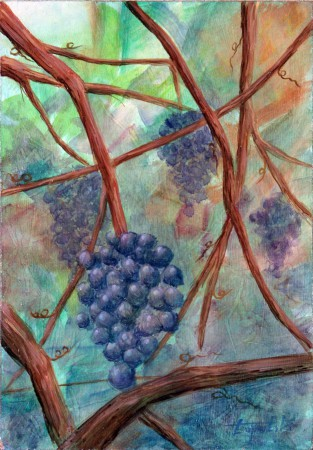 Grapes - Oil Painting on HDF by artist Darko Topalski