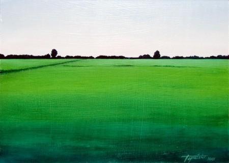 Green Landscape - Oil Painting on HDF by artist Darko Topalski