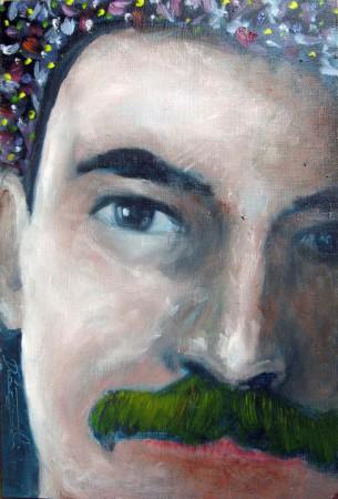 Green Mustache - Oil Painting on HDF by artist Darko Topalski