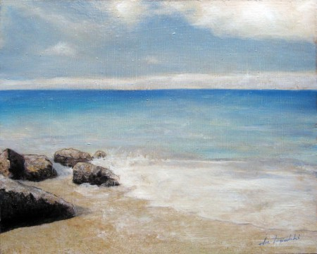 Impressions of the Blue - Oil Painting on HDF by artist Darko Topalski