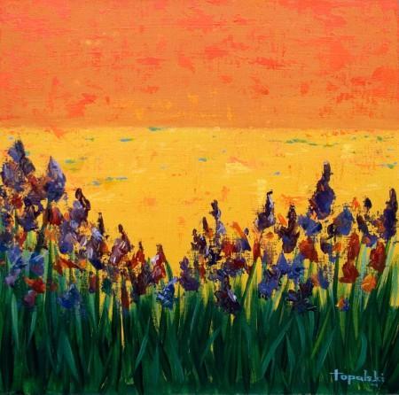 Irises - Oil Painting on HDF by artist Darko Topalski