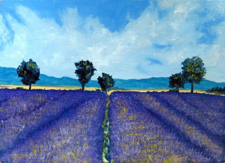 Lavender Field - Oil Painting on HDF by artist Darko Topalski
