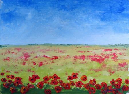 Poppy Field - Oil Painting on HDF by artist Darko Topalski