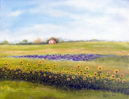 Sunflower Farm  - Oil Painting on Canvas by artist Darko Topalski