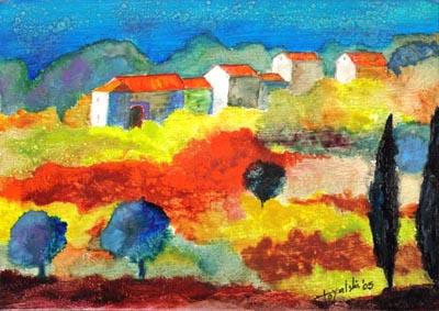 Village in Tuscany - Oil Painting on HDF by artist Darko Topalski