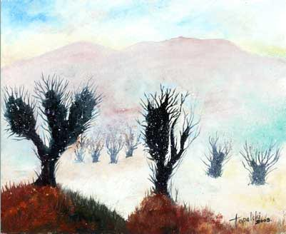 Cactuses in Siberia - Oil Painting on HDF by artist Darko Topalski