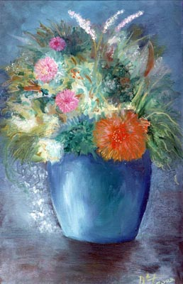 Flowers in a Blue Vase - Oil Painting on HDF by artist Darko Topalski