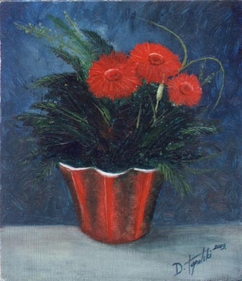 Red Flowers  - Oil Painting on HDF by artist Darko Topalski