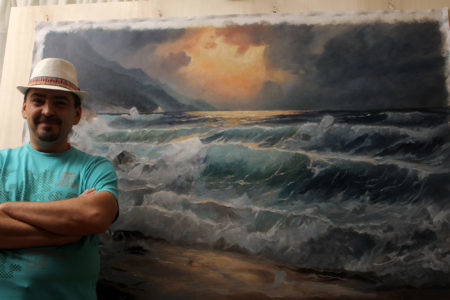 Sea and Waves - 42x60in, Commissioned Oil on Canvas