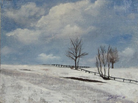 Plain Winter - Oil Painting on HDF by artist Darko Topalski