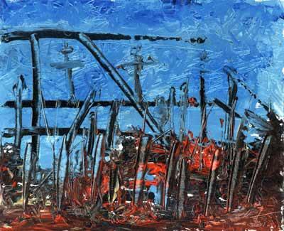 Rebirth Construction - Oil Painting on HDF by artist Darko Topalski