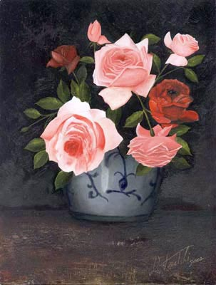 Roses - Oil Painting on HDF by artist Darko Topalski