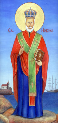 St. Nicholas - Orthodox Icon by artist Darko Topalski