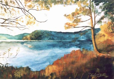 Watery Reflections watercolor painting by artist Darko Topalski